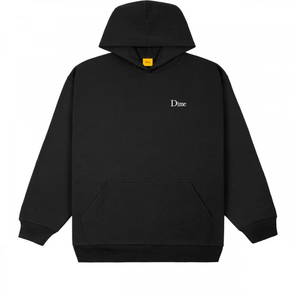 Dime Classic Small Logo Embroidered Pullover Hooded Sweatshirt (Black)