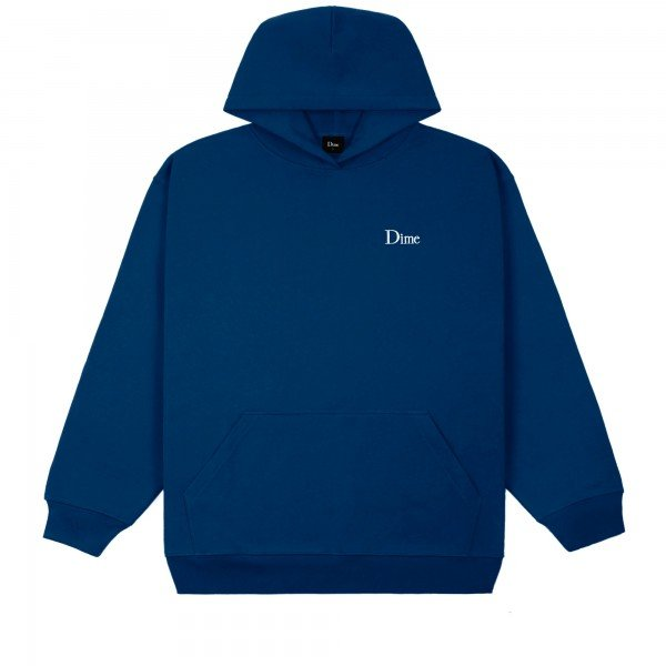 Dime Classic Small Logo Embroidered Pullover Hooded Sweatshirt (Navy)