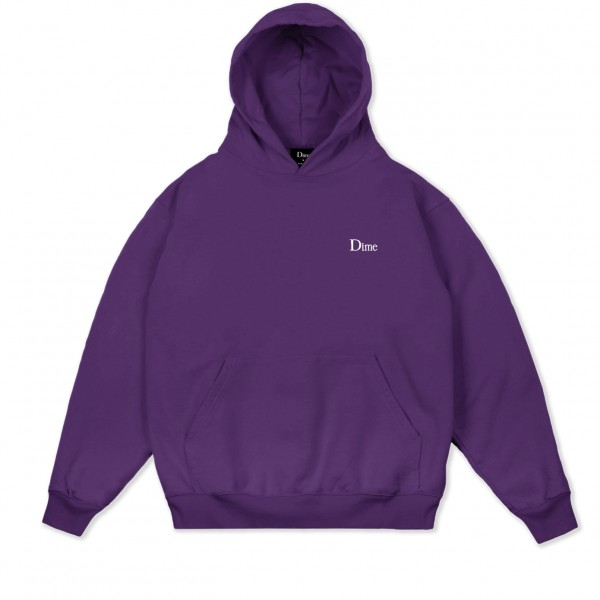 Dime Classic Small Logo Embroidered Pullover Hooded Sweatshirt (Purple)