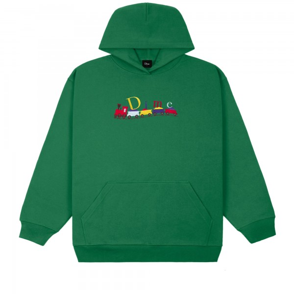 Dime Classic Train Embroidered Pullover Hooded Sweatshirt (Green)