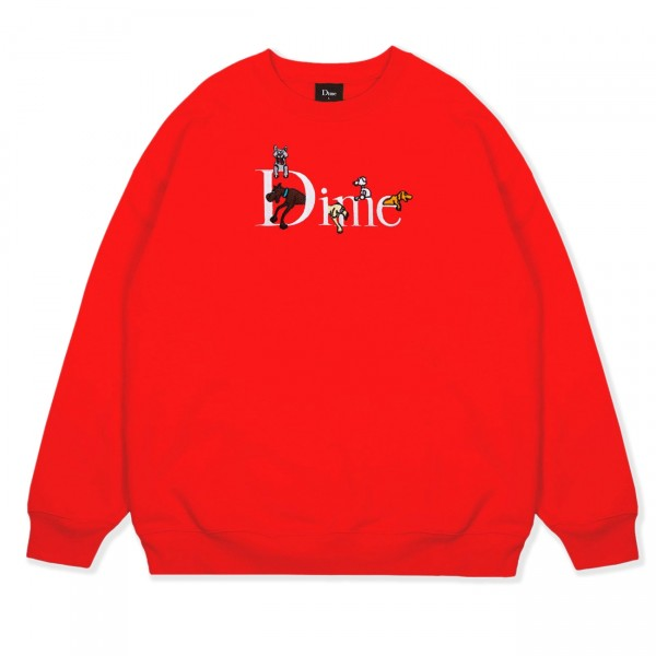 Dime Dog Classic Logo Crew Neck Sweatshirt (Red)