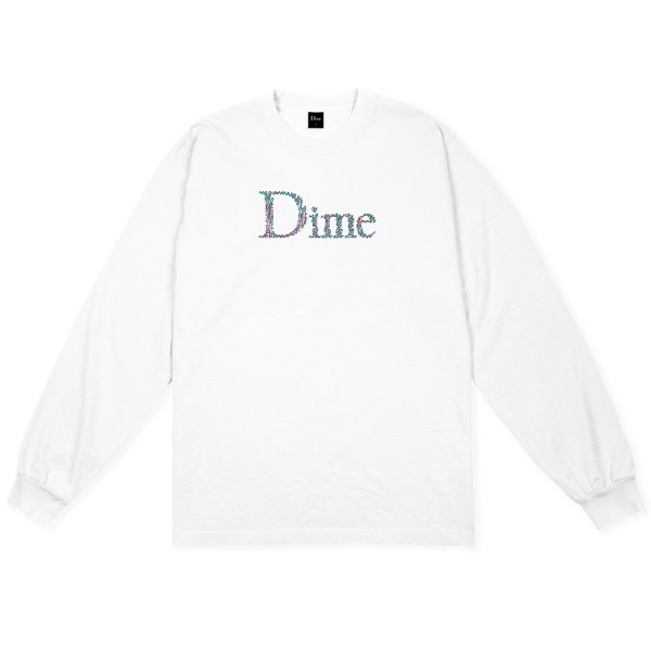 Dime Scribble Classic Logo Long Sleeve T-Shirt (White)