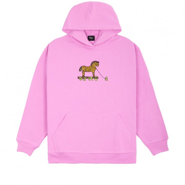 Dime Trojan Embroidered Pullover Hooded Sweatshirt (Light Pink)