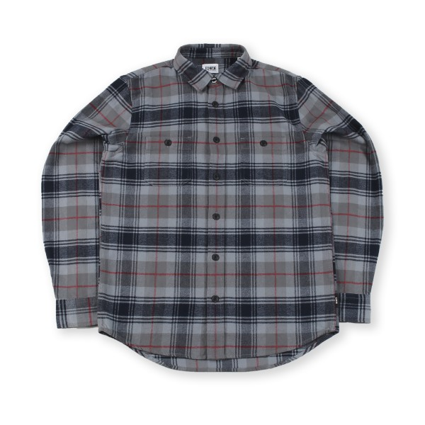 Edwin Labour Brushed Flannel Cotton Check Shirt (Battle Grey Garment Washed)