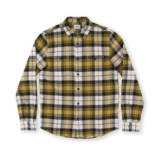 Edwin Labour Brushed Flannel Cotton Check Shirt (Mustard Garment Washed)