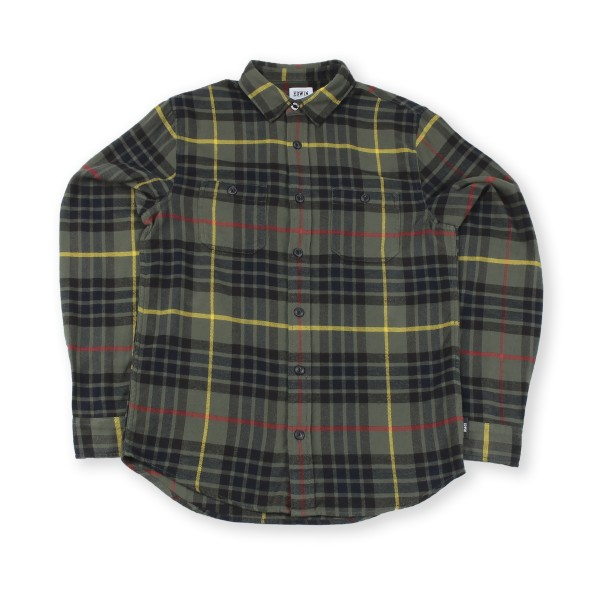 Edwin Labour Brushed Flannel Cotton Check Shirt (Uniform Green Garment Washed)