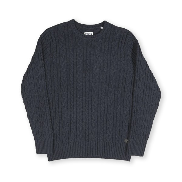Edwin Oiler Ecoplanet Wool Blended Crew Neck Sweater (Dark Navy Garment Washed)