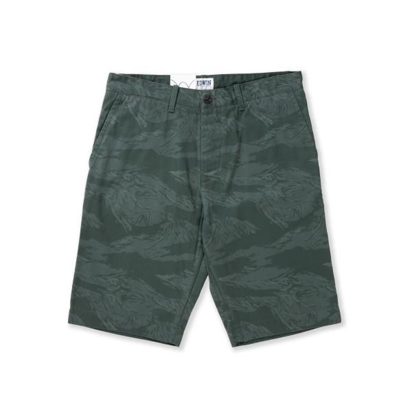 Edwin Rail Bermuda Compact Twill 9oz Cotton Shorts (Olive Camo Laser Rinsed)