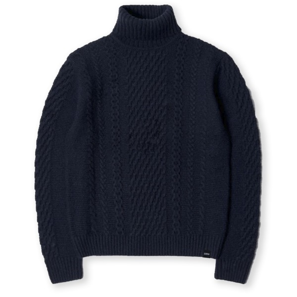 Edwin United Ecoplanet Wool Blended Rollneck Sweater (Navy Garment Washed)