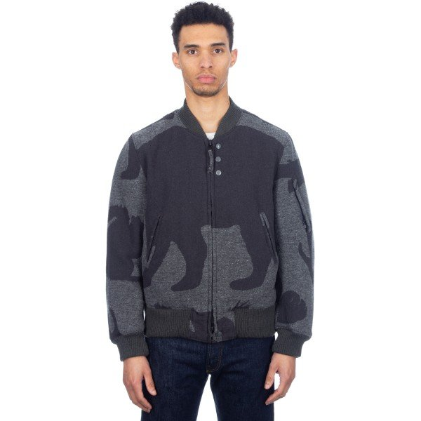 Engineered Garments Aviator Jacket (Woolrich Grey Animal Wool Jacquard)