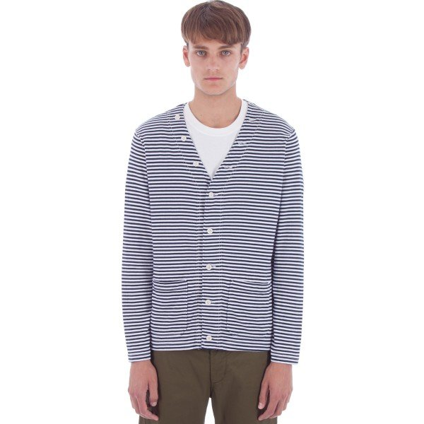 Engineered Garments Knit Cardigan (Navy/White Stripe Jersey)