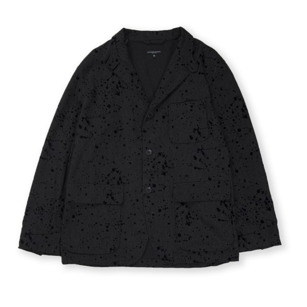 Engineered Garments Loiter Jacket (Charcoal Rayon Wool Flocking Splatter Print)