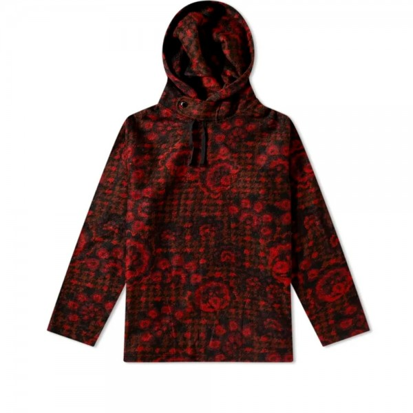 Engineered Garments Long Sleeve Hoody (Red/Black Floral Knit)