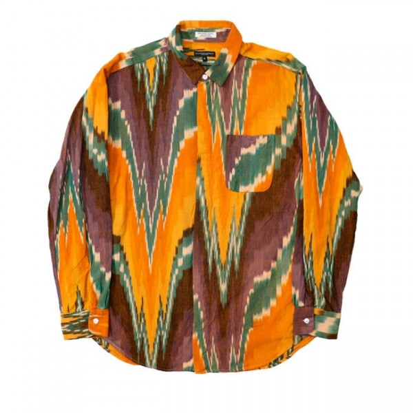 Engineered Garments Short Collar Shirt (Yellow Green Cotton Ikat)