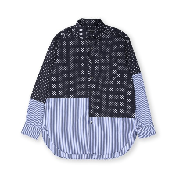 Engineered Garments Spread Collar Shirt (Navy Cotton Big Polka Dot Broadcloth)