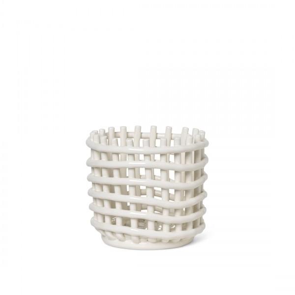 ferm LIVING Ceramic Basket Small (Off-White)