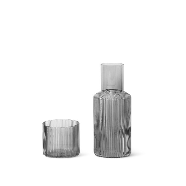 ferm LIVING Ripple Carafe Set Small (Smoked Grey)