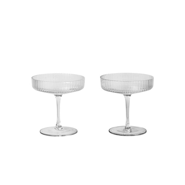ferm LIVING Ripple Champagne Saucers Set of 2 (Clear)