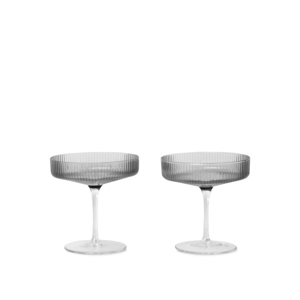 ferm LIVING Ripple Champagne Saucers Set of 2 (Smoked Grey)