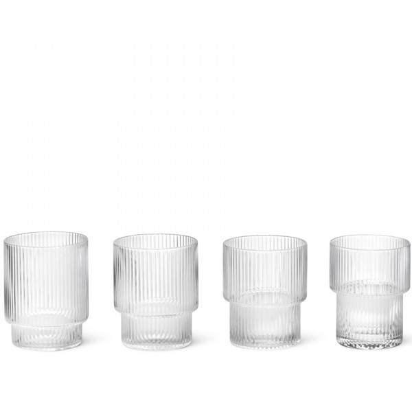 ferm LIVING Ripple Glasses Set of 4 (Clear)
