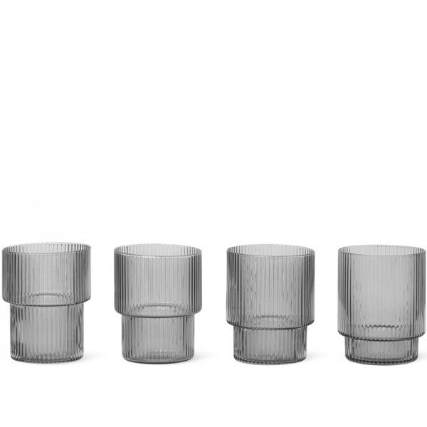 ferm LIVING Ripple Glasses Set of 4 (Smoked Grey)