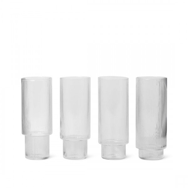 ferm LIVING Ripple Long Drink Glasses Set of 4 (Clear)