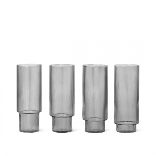 ferm LIVING Ripple Long Drink Glasses Set of 4 (Smoked Grey)