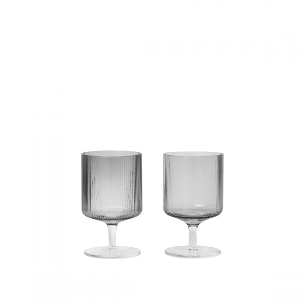 ferm LIVING Ripple Wine Glasses Set of 2 (Smoked Grey)