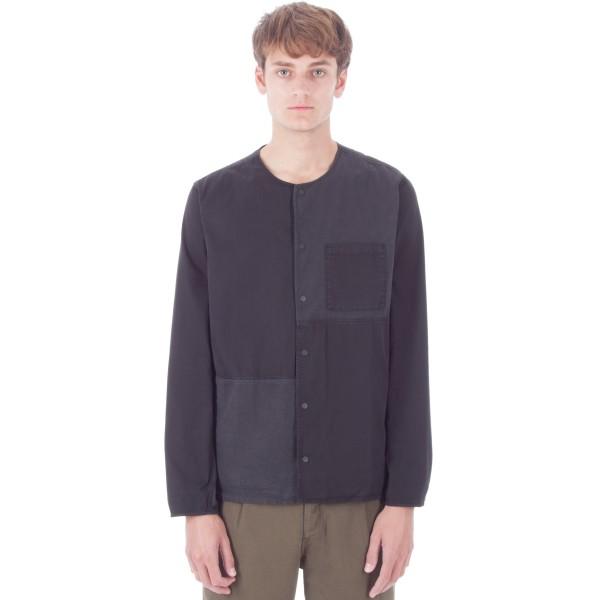 Folk Combination Pop Stud Shirt (Black)