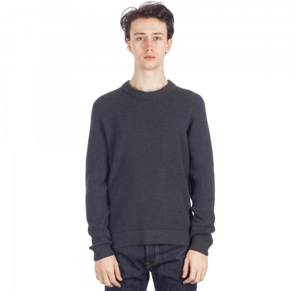 Folk Cotton Waffle Crew Neck Jumper (Charcoal)