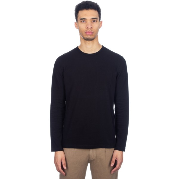 Folk Deboss Pocket Long Sleeve T-Shirt (Black)