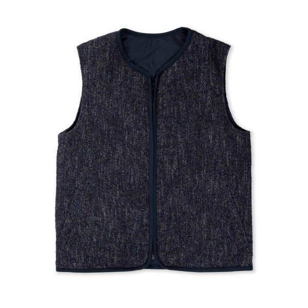 Folk Reversible Liner Vest (Mottled Navy)