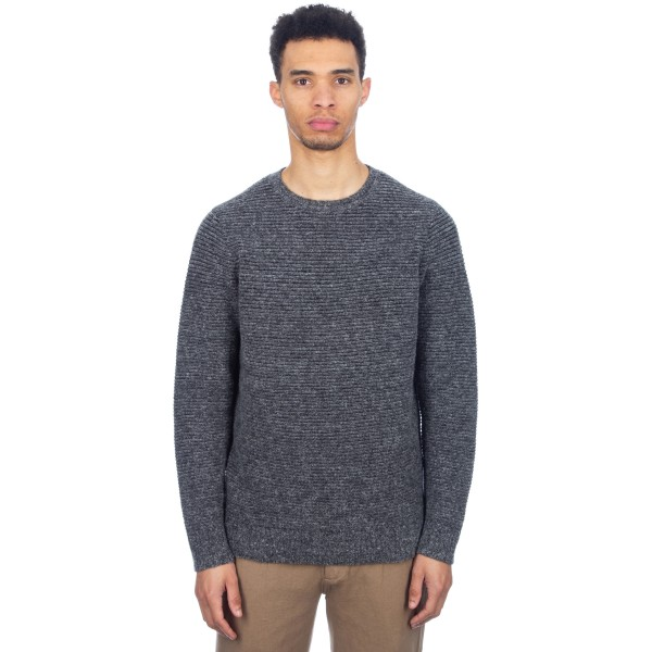 Folk Stripe Wool Jumper (Grey Melange)