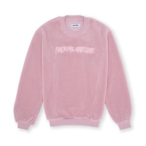 Fucking Awesome Pile Polar Fleece Crew Neck Sweatshirt (Pink)