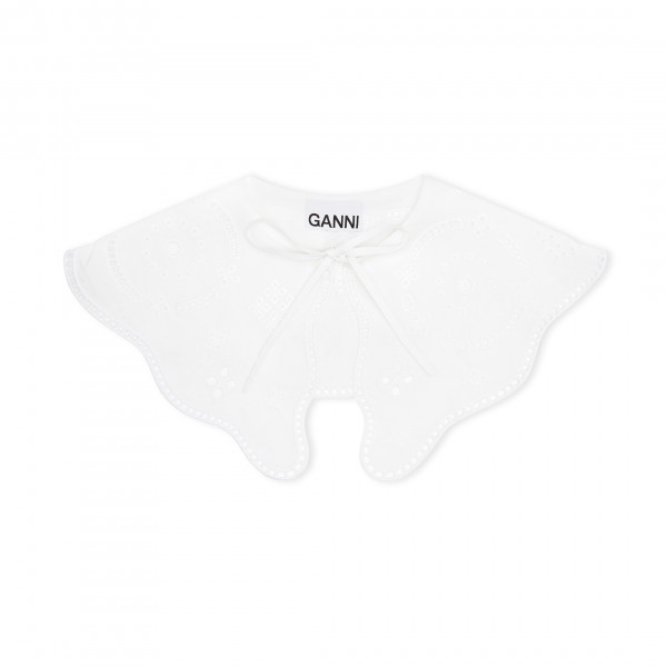 GANNI Broderie Anglaise Pointed Detached Collar (Bright White)