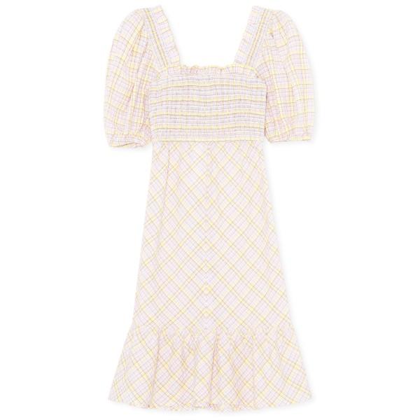 GANNI Checkered Seersucker Shirred Midi Dress (Multicolour)