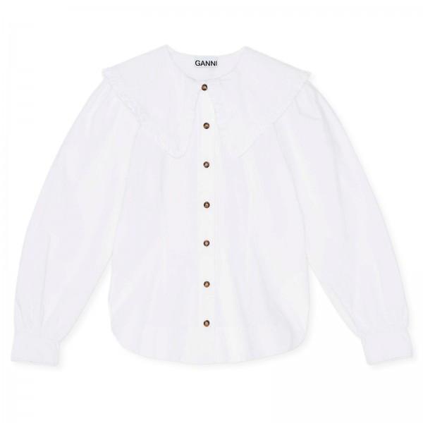 GANNI Cotton Poplin Fitted Shirt (Bright White)