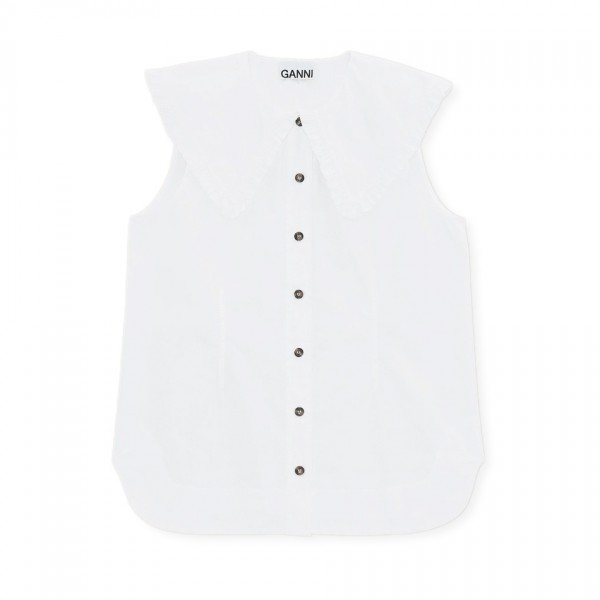 GANNI Cotton Poplin Sleeveless Shirt (Bright White)