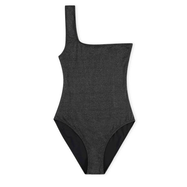 GANNI Glitter One Shoulder Swimsuit (Black)