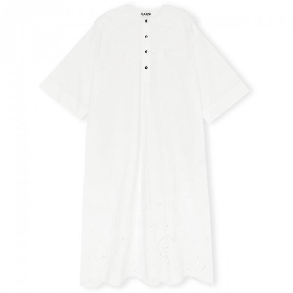 GANNI Oversized Broderie Anglaise Midi Dress (Bright White)