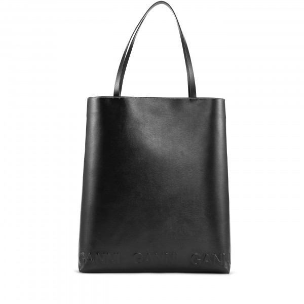 GANNI Recycled Leather Large Tote Bag (Black)