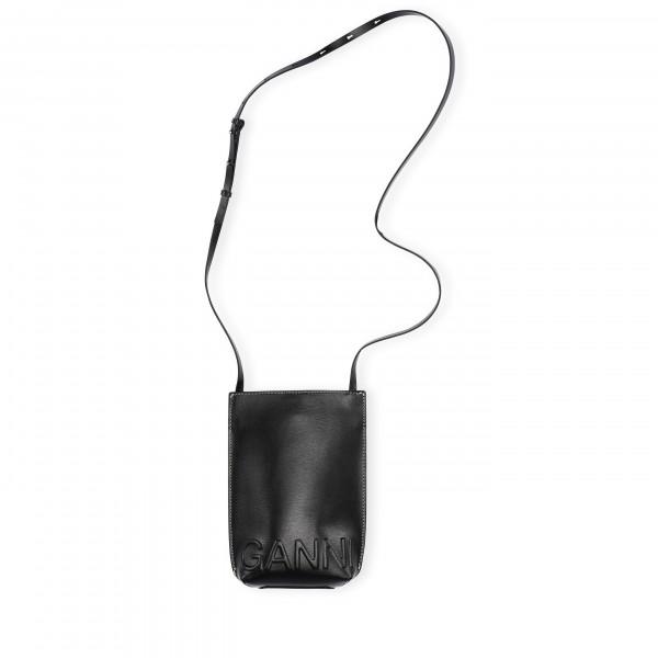 GANNI Recycled Leather Small Crossbody Bag (Black)
