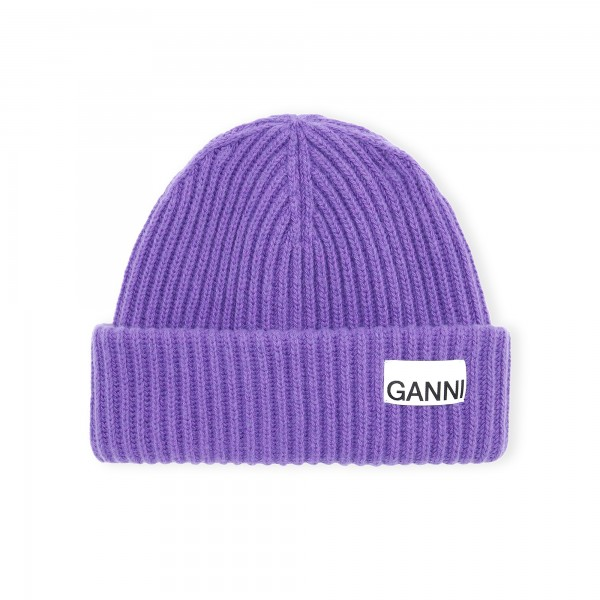 GANNI Recycled Wool Beanie (Persian Violet)