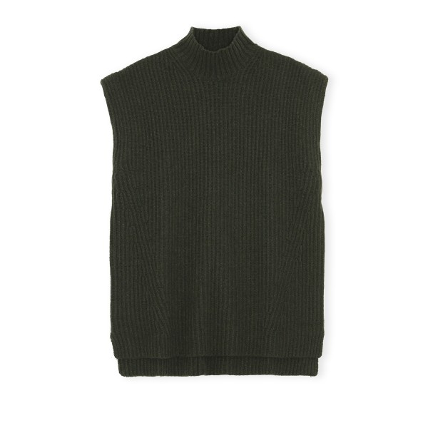 GANNI Recycled Wool Vest (Dark Green)