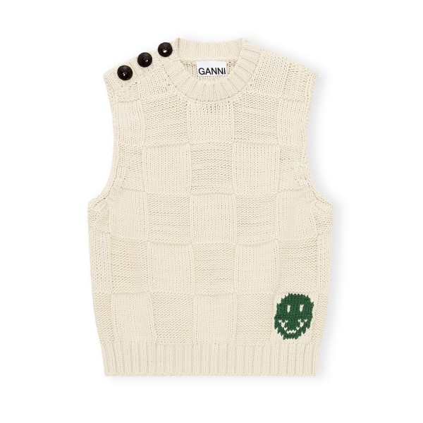GANNI Smiley Fitted Sweater Vest (Brazilian Sand)
