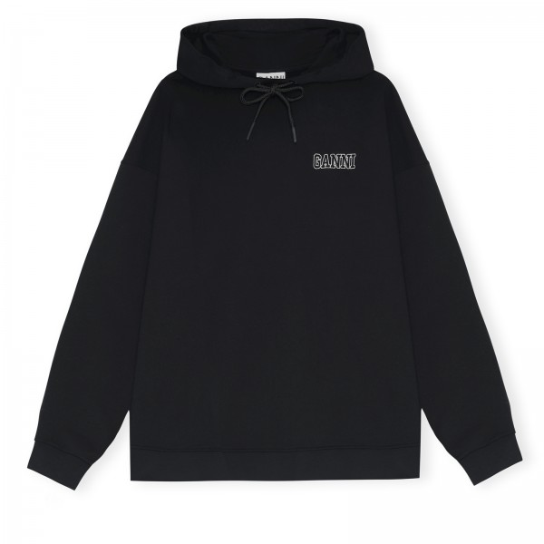 GANNI Software Isoli Oversized Pullover Hooded Sweatshirt (Black)