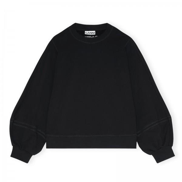 GANNI Software Isoli Puff Sleeve Crew Neck Sweatshirt (Black)