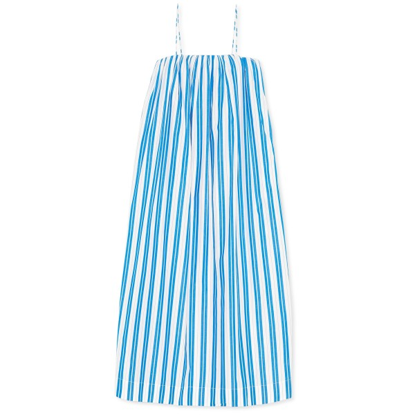 GANNI Stripe Organic Cotton Strap Dress (Daphne)