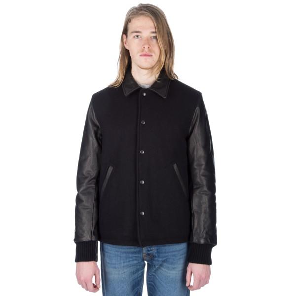 Golden Bear Sportswear Open Bottom Varsity Jacket (Navy Melton Wool/Black Leather)