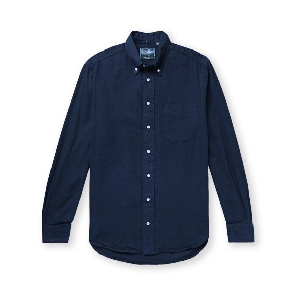 Gitman Vintage Overdyed Oxford Long Sleeve Shirt (Navy)